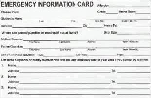 emergency contact card template return emergency cards stout middle school