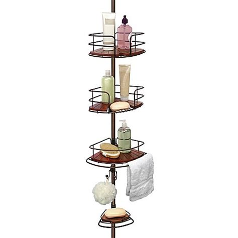 Bed Bath And Beyond Shower Caddy buy tension pole shower corner caddy in teak oil rubbed