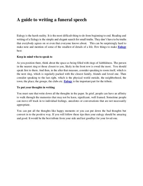 Funeral Tribute Speech Outline by A Guide To Writing A Funeral Speech