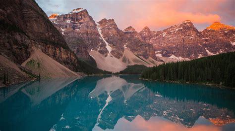 wallpaper sunrise moraine lake alberta canada