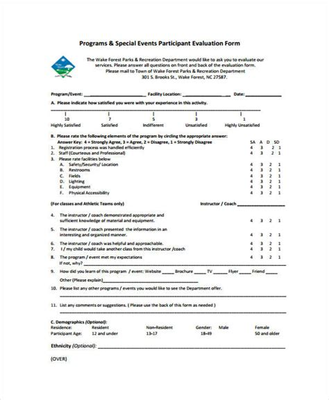 30 Event Evaluation Form Templates Participant Evaluation Form Templates