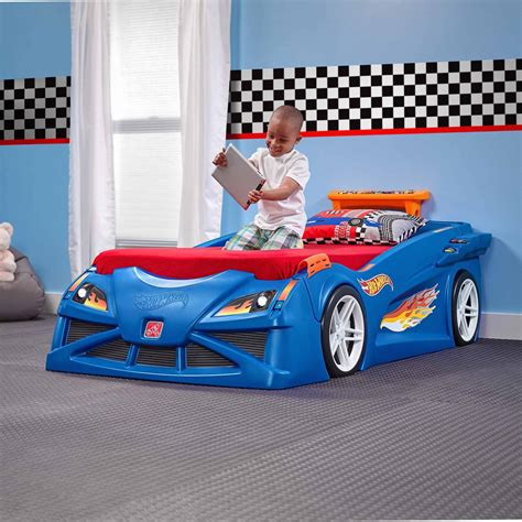 step 2 toddler car bed step2 hot wheels toddler to twin race car bed blue balzano