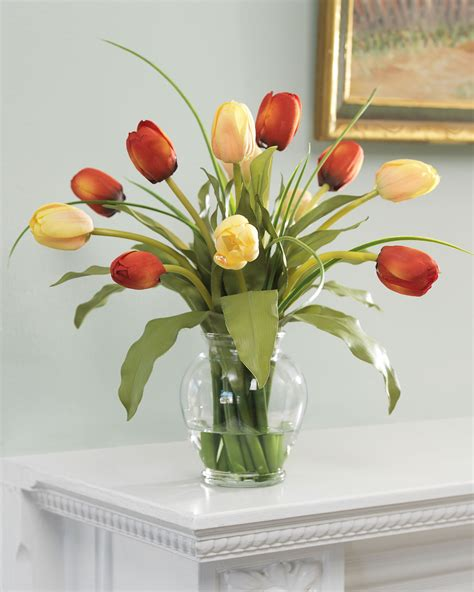 tulips arrangements shop mixed tulip silk flower arrangement at petals