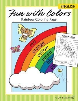 spanish rainbow coloring page colors practice rainbow coloring page english color