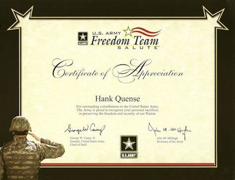 tag army certificate of appreciation author hank quense receives a certificate of appreciation