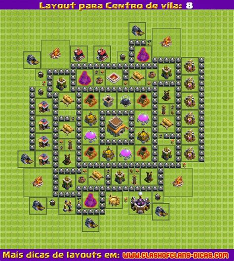 layout para cv 8 clash of clans layouts para clash of clans centro de vila 8