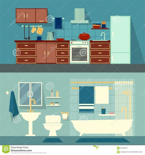 home interior design vector vector flat illustration for rooms of apartment house
