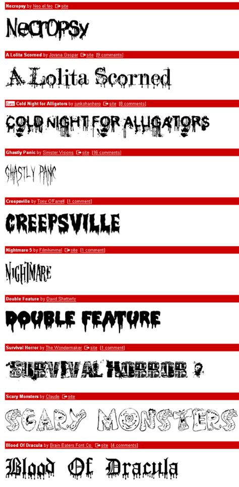 dafont horror over 100 free halloween design resources a design bliss