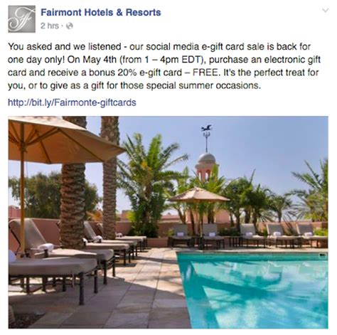 Hotel Gift Cards Discount - fairmont will offer a 20 bonus on gift card purchases one mile at a time