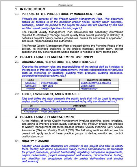 template of quality management plan 33 management plan templates free premium templates