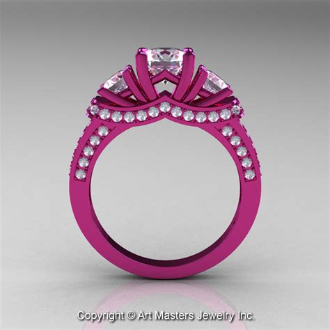 14k pink gold three white sapphire