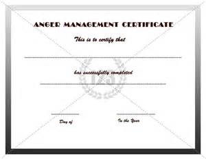 anger management certificate template certificate
