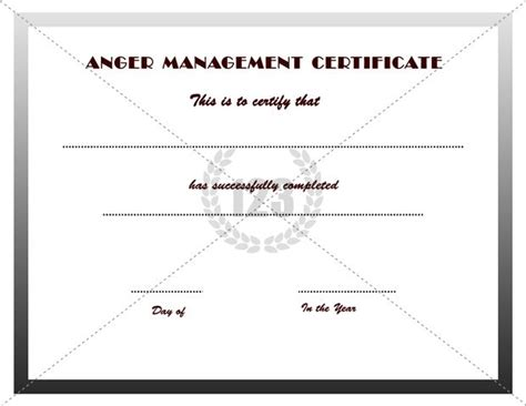 anger management certificate template anger management certificate template certificate