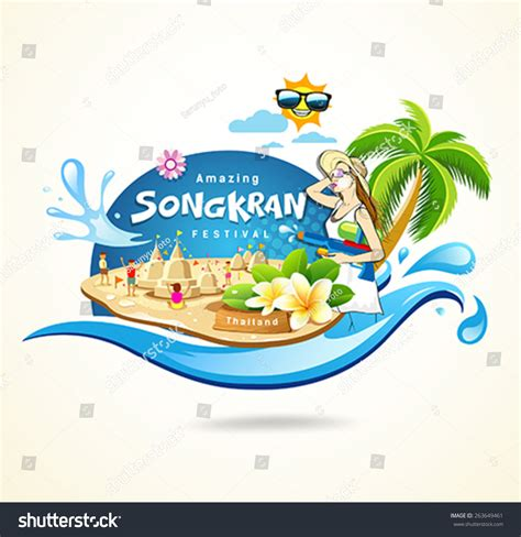 concept for thai new year amazing songkran festival thailand seashore concept stock