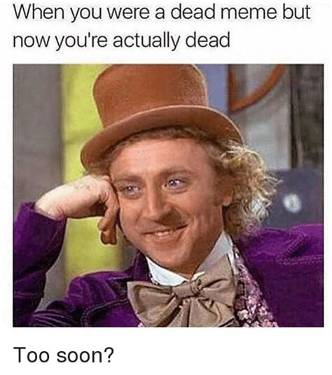 Too Soon Meme - when you were a dead meme but now you re actually dead too