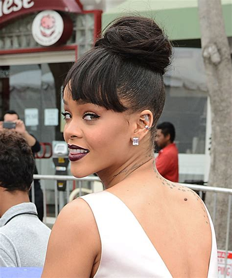 rihanna short straight casual pixie hairstyle black rihanna long straight casual updo hairstyle with blunt cut