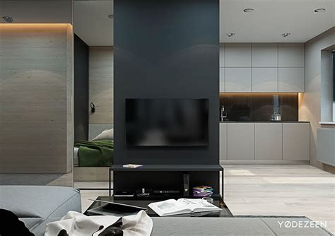 tv in the middle of the living room small flat in kiev by yodezeen 02 myhouseidea