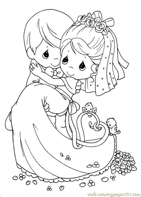 dress bride groom coloring pages