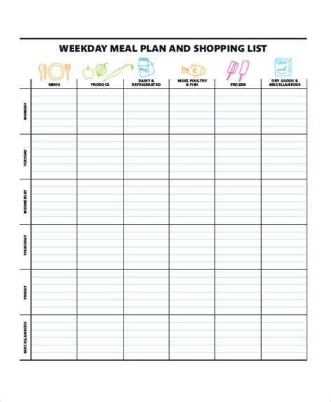 monthly meal planner template with grocery list weekly meal planner 10 free pdf psd documents