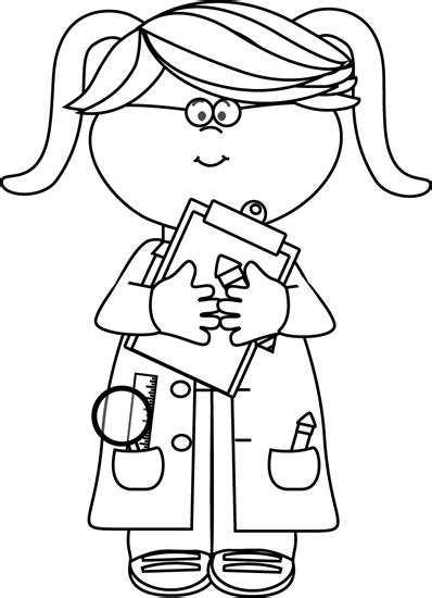 black and white girl scientist with a clipboard clip art