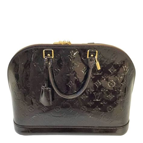 louis vuitton alma vernis monogram embossed patent dark