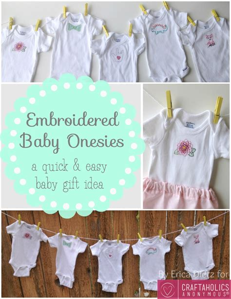 craftaholics anonymous 174 baby gift idea embroidered baby onesies