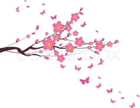 new year blossom tree cherry blossom and butterfly new year stock