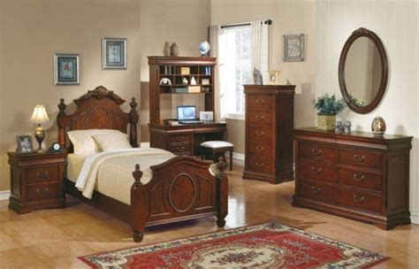 youth full bedroom sets acme furniture classique cherry kids 4 piece full