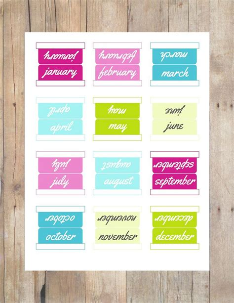 printable planner tabs 12 month tabs 5 sets multi colored printable planner