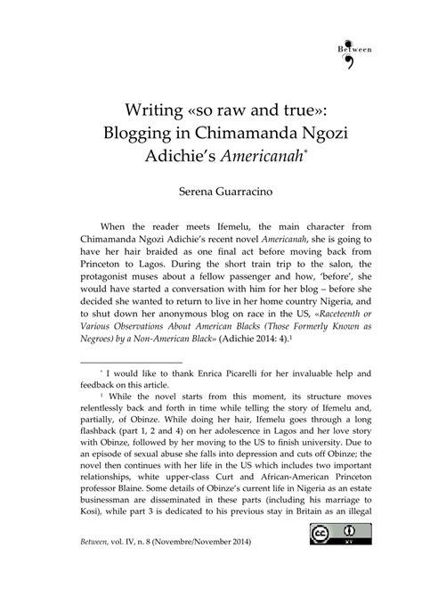 (PDF) Writing 'so raw and true': Blogging in Chimamanda