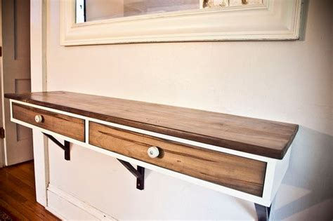 floating entry table made to order modified ikea shelf with two drawers ambrosia maple