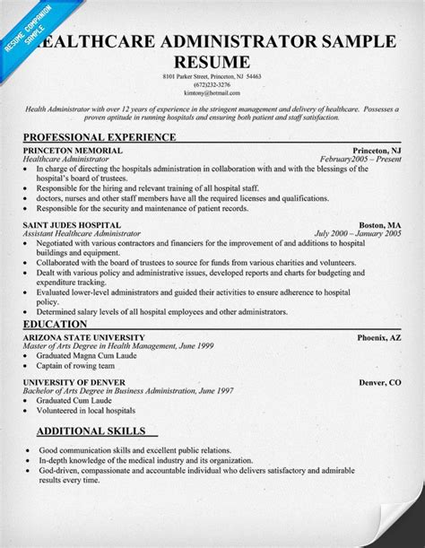 healthcare administrator resume healthcare administration resume samples hospital administrator sample healthcare manager resume download health - Hospital Administrator Resume