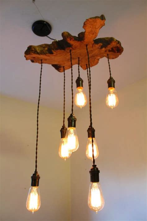 Live Edge Olive Tree Wood Slab Light Fixture With Hanging Wooden Tree With Lights