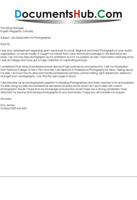 photographer cover letter cover letter for photographer documentshub