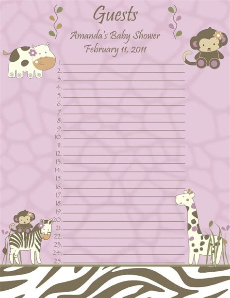 baby shower guest list template best photos of baby shower guest list spreadsheet baby