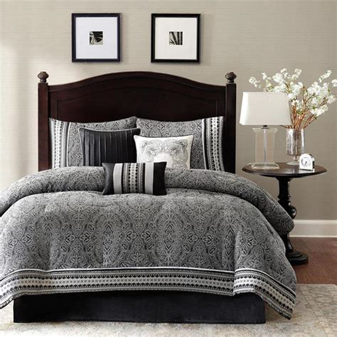 Comforter Bedding Sets King Polyester Jacquard 7 Comforter Set Damask Pattern Black King Size Ebay