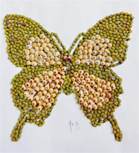 cara membuat seni kolase dgn benar contoh kolase berbahan biji bijian dan kancing sebagai