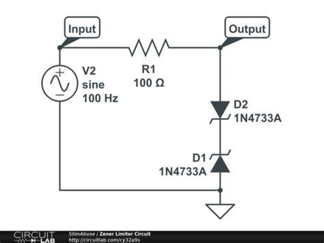 zener diode voltage limiter circuit zener limiter circuit circuitlab