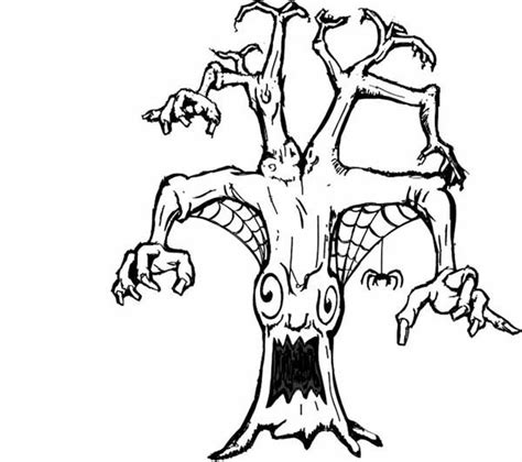 scary tree coloring page scary tree monster coloring page coloring sky