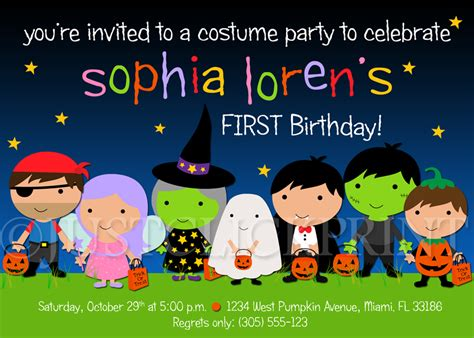 printable childrens halloween party invitations kids halloween costume party birthday invitation printable
