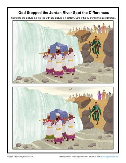 god stopped  jordan river spot  differences childrens bible activities sunday school
