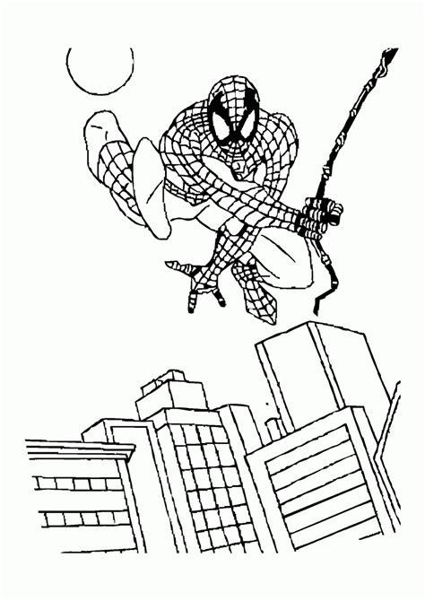 Mewarnai Gambar Spiderman Melompati Gedung - Contoh Anak PAUD