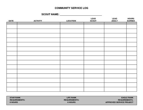 community service template 7 best images of printable hours log volunteer hours log