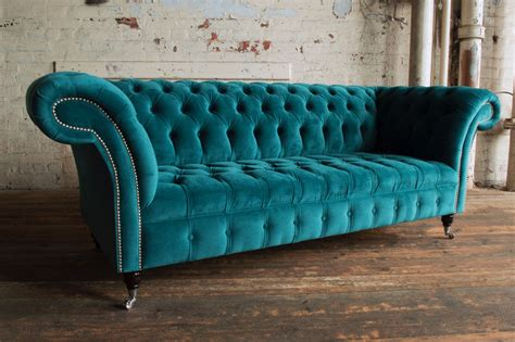 teal chesterfield sofa modern handmade 3 seater plush blue teal velvet