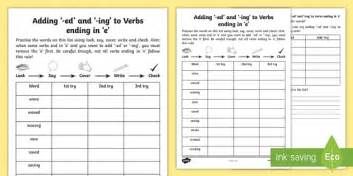 year 2 spelling practice adding ing and ed to verbs