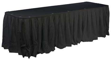 Table Skirt With Box Pleated Design Black Fabric Fabric Table Skirts