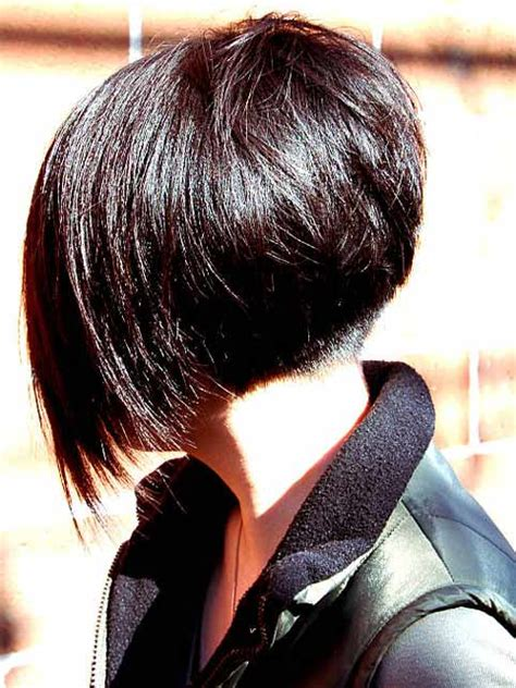 angled and feathered back hair dos stacked feathered bob haircut back view short hairstyle 2013