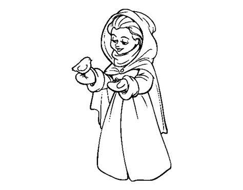 imagenes para dibujar mujeres dibujo de mujer con p 225 jaro en invierno para colorear