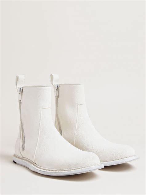 white leather boots milk white zip boots soletopia