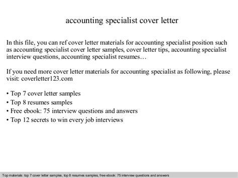 Cover Letter Accounting Specialist Accounting Specialist Cover Letter